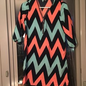 Pink and blue patterned chevron blouse